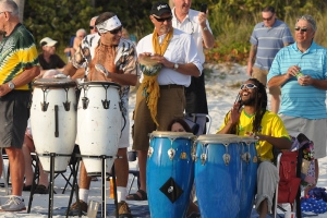 Drumming at Siesta Beach, Sarasota, Florida.