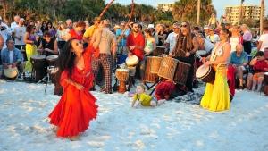 Crowds attend the drummings at Siesta Beach.