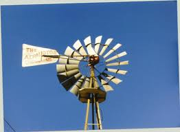 A windmill powered a water system.