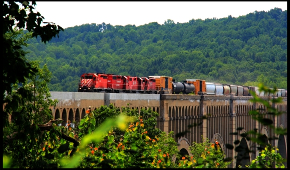 Burl's favorite shot with the Canadian Pacific crossing the bridge.