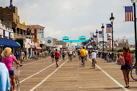 Riding bikes on the boardwalk is only for a brief time each morning.