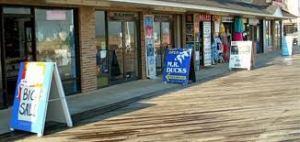 Shopping the boardwalk .