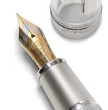 The nib of a fountain pen.