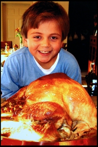 My grandson, Zach Updyke, is ready for Thanksgiving Dinner.