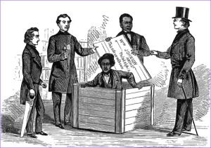 Here Henry Box Brown is being let out of his box.