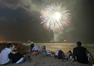 Watching fireworks at the beach.
