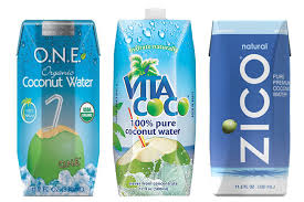 Numerous brands of coconut water are available  in the can.