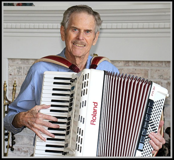 He's handling the weight of his accordion, another sign that healing is taking place.