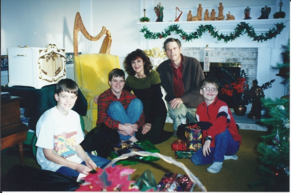 Christmas 2000 when Philip gave us the ship model. He is pictured on the right in front of my husband. I'm there too, with Jonathan and Jeremy.