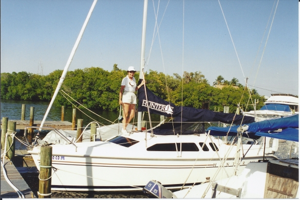 I'm pictured here, during our sailing days, atop the Hunter.
