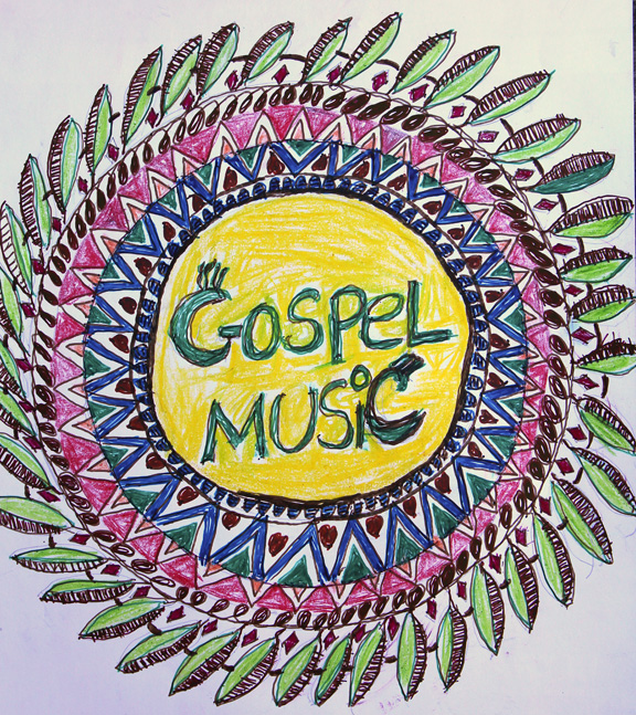 My latest attempt at art is the cover I did for my gospel music binder.