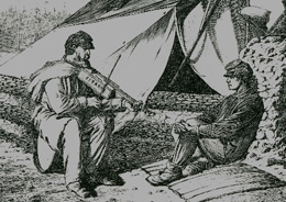 This is a copy of the etching showing Civil War soldiers with a Cigar Box fiddle.