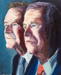 Father and son protrait, by George W. Bush.